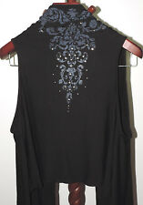 Allegro sz XL Open Front High Low Stretch Knit Vest Top USA Silver Studs