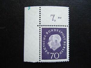 BERLIN Mi. 186 postfrisch ** vom Eckrand Ecke Bogenecke mit Abart an Randleiste