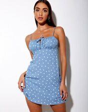MOTEL ROCKS Mala Slip Dress in Skater Polka Dot Blue  L Large   (MR88)
