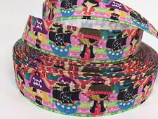"BTY Printed 7/8"" Cute Kid Pirates Grosgrain Ribbon Hair Bows Lisa"