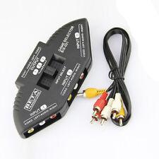 3 Weg Audio Video Umschalter Verteiler AV RCA Splitter Adapter + Cinchkabel NEU