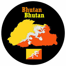 BHUTAN, SÜD ASIEN - KARTE / FLAGGE - RUND SOUVENIR KÜHLSCHRANK-MAGNET
