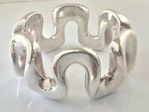 SIMON SEBBAG Israel Sterling Silver B1056 Chunky Wavy Bangle Bracelet Signed 48g