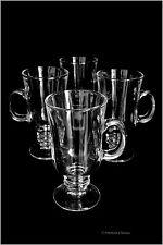Set 4 Clear Glass 8oz Mug Footed Irish Glasses Iced Coffee Cups Tea Mugs