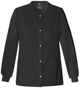 Cherokee Luxe Snap Front Warm-Up Jacket 1330 BLKV Black Free Shipping