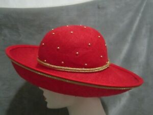 Kokin NY, Red portrait brim hat with gold piping and double gold band