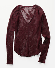 FREE PEOPLE INTIMATELY BORDO LONG SLEEVE OH GLOVE IT LACE LAYERING TOP Sz XS
