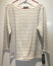 NWT Ralph Lauren Pullover Boatneck ¾ Sleeve Sweater Women XL Pearl and Black