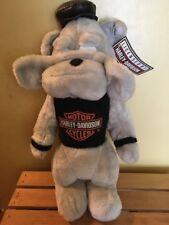 Licensed Harley Davidson Stuffed Animal Dog Toy Grey Body Black Vest/Hat 1993