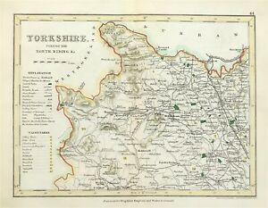 Map Part of North Riding Yorkshire 1840 Town Parks Rail Road hand colour antique