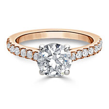 Solid 14k Rose Gold 1.48Ct Moissanite Solitaire Engagement Band Wedding Ring