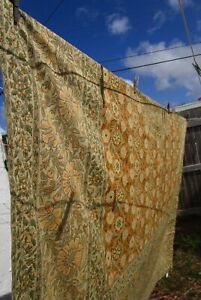 """LARGE Tablecloth Boho Floral 108x70""""  POTTERY BARN Gold Green India, Pure Cotton"""