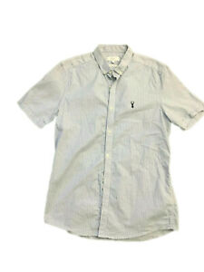 NEXT Blue White Striped Slim Fit Short Sleeve Shirt, Size M