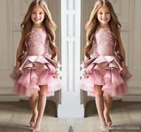ABAO Childrens Girl Pink Knee-Length Ruffled Tulle Rhinestone Lace Pageant Dress