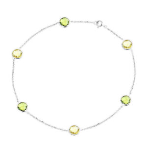 14K White Gold Anklet With Peridot And Lemon Topaz Gemstones 11 Inches