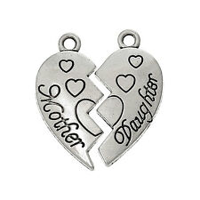 4 X SETS ANTIQUE SILVER 'MOTHER DAUGHTER' HEART CHARMS EACH HALF 24MMX11MM No169