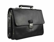 Visconti 18074 Leather Business Messenger Bag  Shoulder X Large Laptop Case Blac
