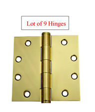 "9 PC 4.5"" x 4.5"" Polished Brass Commercial Straight Corner Door Hinges free ship"