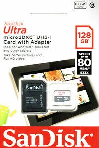 SanDisk 128GB Ultra 80MB/s Class 10 Micro SD SDXC Speicherkarte SDSQUNS-128