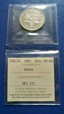 1861 German States BADEN Thaler Silver Coin ICCS EF-40