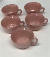 5 Vintage Pink Hazel Atlas Moderntone Platonite Coffee Tea Cups