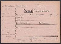 DR Doppel Notpaketkarte * BBS 6.44, GA Ganzsache Deutsches Reich