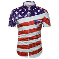 Mens USA Flag Stripes And Stars Short Sleeve Cotton Blend Casual Shirt Tops
