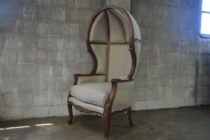 Dome Porter Chair Balloon Hooded Canopy Back French Louis XVI Versailles Hollywo
