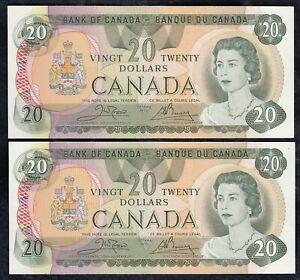 2 Consecutive 1979 Bank of Canada $20 Banknotes - BC-54b - 50943679825 - 824