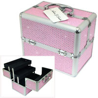 PINK DIAMANTE ALUMINIUM VANITY CARRY CASE COSMETIC MAKE UP STORAGE JEWELLERY BOX