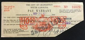 Charleston, South Carolina pay warrant $10 1933 - Emergency Depression scrip