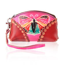 Women Red Pink Butterly Coin Leather Purse Wallet Handbag Charm Keychains LW7