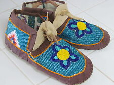 NATIVE FULL BEAD MOCCASINS FRINGES FLOWERS DAZZLING SZ9