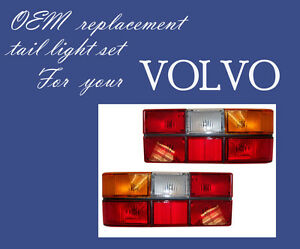 VOLVO 240 244 TAIL LIGHT ONE PAIR with Black Molding 1986-93 MADE IN EUROPE