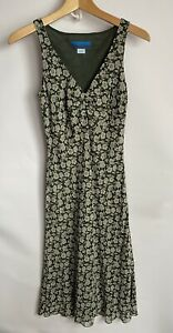 Monsoon Sleevless Maxi Dress Size 8 Green Floral Print Y2K Lined 90s 00s