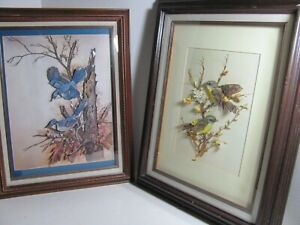 VINTAGE PAIR OF ARTIST SIGNED NATURALISTIC 3 DIMENTIONAL COLLAGES