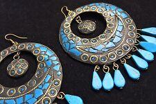 Bohocoho ECCENTRICO Boho Gypsy 70 S Stile Grande Turchese MOSAICO Cerchio Dangle Earrings
