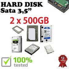 """2 Hard Disk Sata 3,5"""" 500GB USATO Testato PC DESKTOP MINI FISSO GARANZIA 1 ANNO"""
