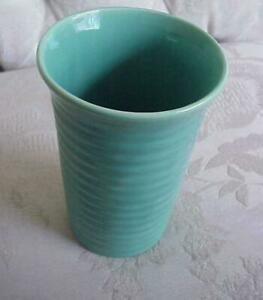 Vintage Bauer Art Pottery  Ring Ware Cylinder Vase 6.5 in x 4 in USA Turquoise