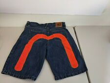 VTG Evisu Mens Orange M  Design Jean Shorts sz 42