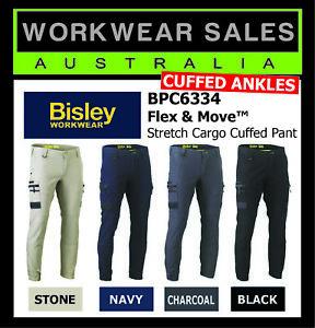 Bisley Elastic Cuffed Pants Work Flex & Move Stretch Cargo BPC6334