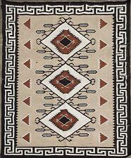 SOUTHWESTERN Wool Navajo Kilim Rug 6x9 ft Handmade Brown Beige CAUCASIAN STYLE