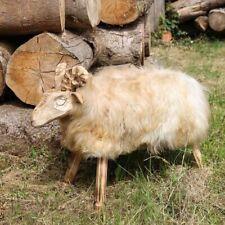 Peau de Mouton Tabouret Paul Modèle 19 Siège Tabouret Décoration Bois Véritable