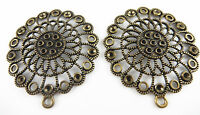 Retro Bronze Alloy Round Hollow Flower 54mm Pendants Charms Jewelry Crafts 4pcs