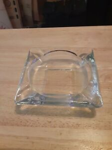 ANCHOR HOCKING LARGE SQUARE CLEAR ASH TRAY 6 X 6 FOUR SLOTS