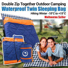 Double Outdoor Camping Envelope Twin Sleeping Bag Thermal Hiking Winter -10°C OZ