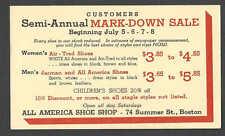 DATED 1939 PC BOSTON MA ALL AMERICA SHOE SHOP MARK DOWN SALE