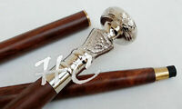 Brass Silver Chrome Knob Handle Vintage Walking Cane Wooden Stick Christmas Gift