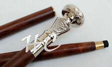 Handmade Brass Silver Chrome Knob Handle Vintage Walking Cane Wooden Shaft Stick