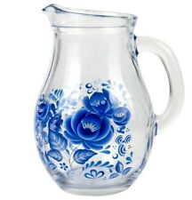 17 fl oz Glass Pitcher with Blue Flowers Print. Gzhel Small Jug Made in Russia